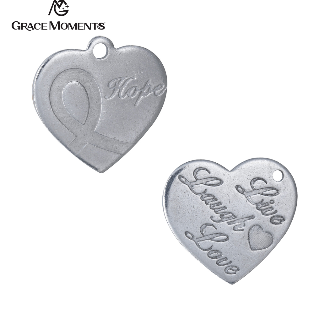 20pcs/Lot Grace Moments DIY Charms 316L Stainless Steel Charm Live Laugh Love Hope Hearts Charms Women Jewelry Accessories Gift