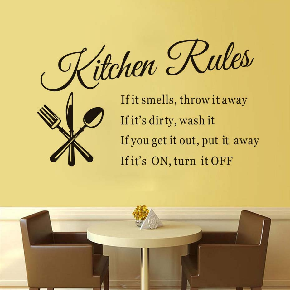 ✅Kitchen Restaurant Kitchen Rules Wall Sticker Waterproof Vinyl ...