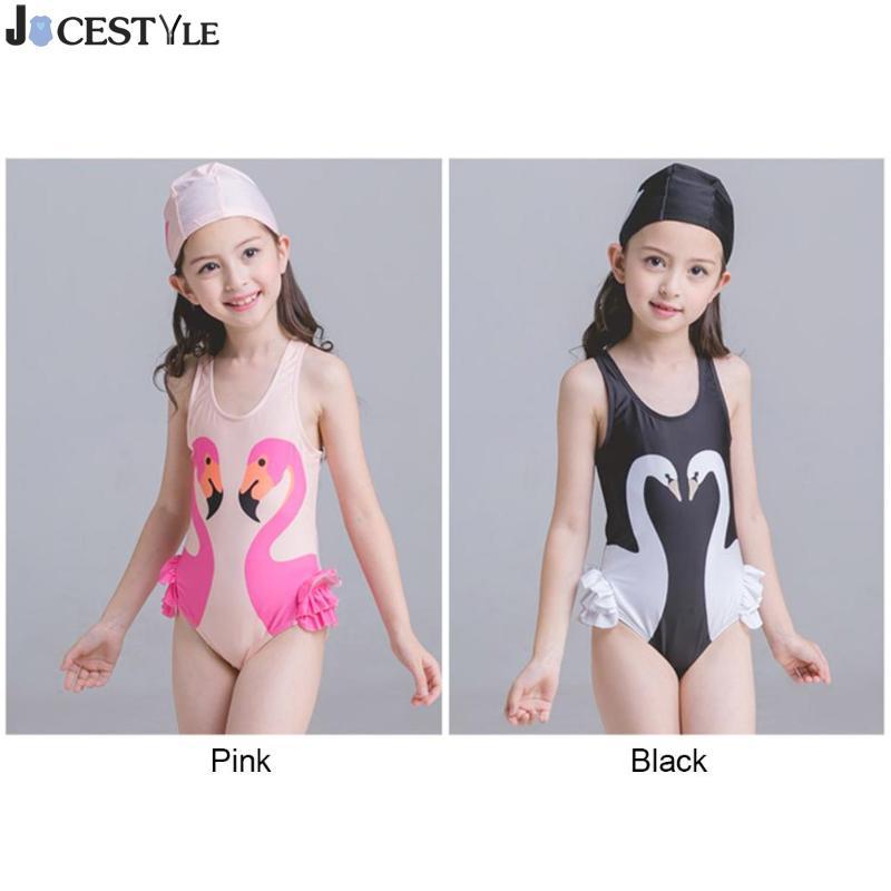 Милые девушки детские, для малышей цельный купальный костюм Дети Лебединое принт ванный Комплект комбинезон одежда для девочек с Кепки