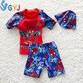 Bebé muchachos traje de 90 cm-115 cm 10-20 kg de Spider-Man muchachos del niño nadar traje de dibujos animados lindo infantil del bebé del traje de baño 3 unidades de baño