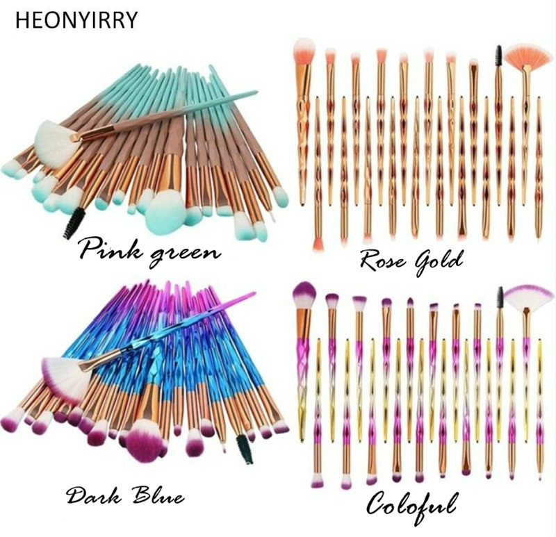 Fashion Crystal Diamond Makeup Brushes Luxury Plating Powder Foundation Blush Blending Eye shadow Lip Cosmetic Beauty Brush Tool