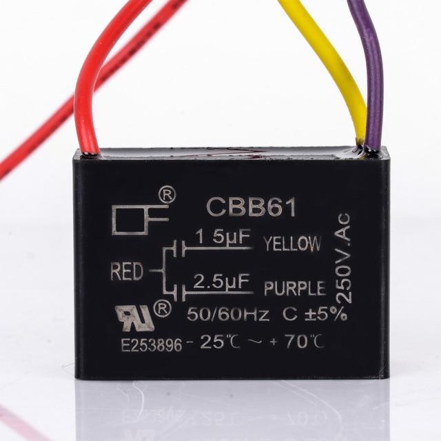 1 stück 3 Drähte Elektrischen Ventilator Kondensator CBB61 1,5 uF + ...