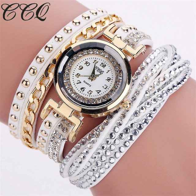 CCQ New Fashion Casual Quartz Women Rhinestone Watch Braided Leather Bracelet Wa