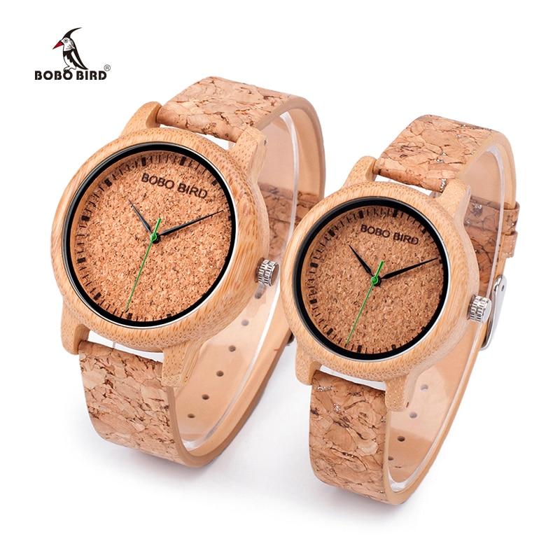 Luxury BOBO BIRD Watches Lovers Bamboo Watches Cork Strap Quartz Wristwatches for Men and Women relogio feminino DROP SHIPPING