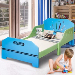 Giantex Crayon temática de madera niños cama con rieles de cama para niños pequeños y niños muebles de dormitorio colorido camas de madera para bebés HW56666