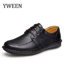 YWEEN Brand Genuine Leather Shoes Men Casual Shoes Handmade Moccasins Shoes Lace Up Comfort Shoes Men Flats