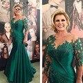 Verde 2017 Mãe Da Noiva Vestidos Sereia Mangas Compridas Apliques de Renda Talão Vestidos de Noite Longos Vestidos Mãe Para O Casamento