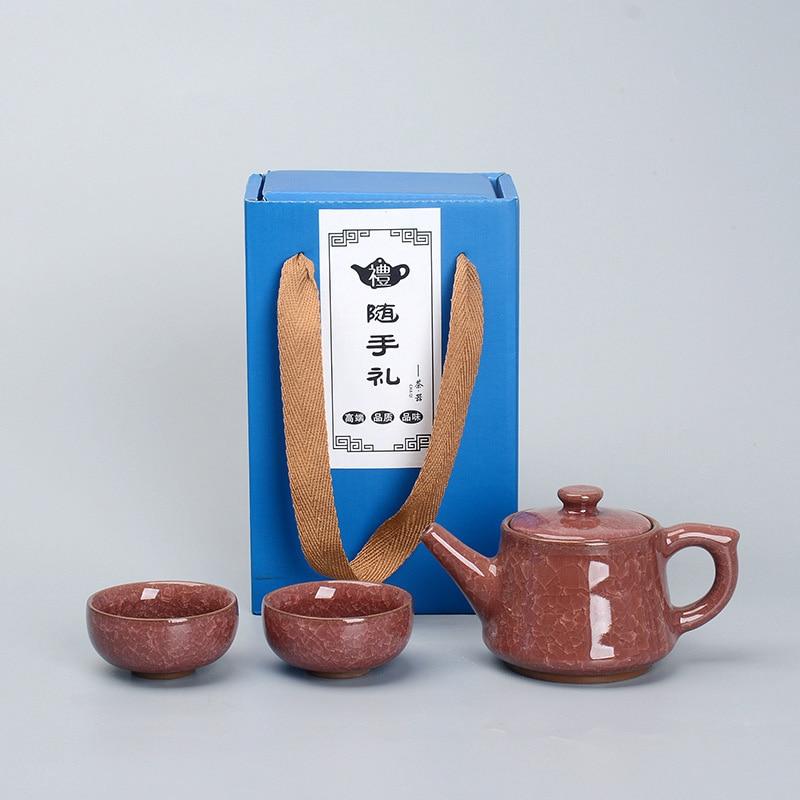 Exquisite CeramicCrack glaze Tea Set 1pot 2cups,carton packaging Tea Sets,TeaCup,Chinese Travel Teapot, Drinkware Coffee&Tea Set