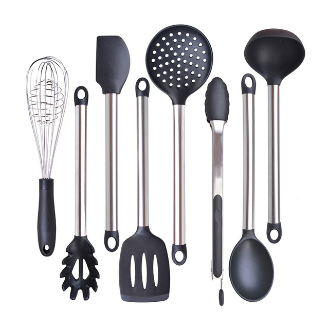 6 8 pieces super sturdy cooking utensils set non stick silicone 6 8 pieces super sturdy cooking utensils set non stick silicone tips for pots teraionfo