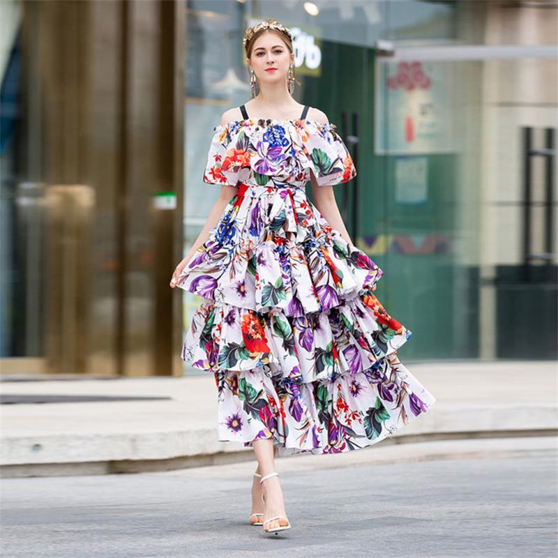 Women Runway Dress 2019 High Quality Spring Summer Floral Print Spaghetti Strap Ruffles Elegant Ladies Dresses