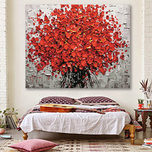 DIY colorings pictures by numbers with colors Red flower knife painting picture drawing  framed Home