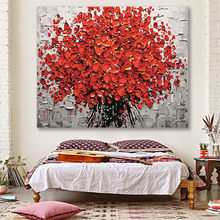 DIY colorings pictures by numbers with colors Red flower knife painting picture drawing framed Home(China)