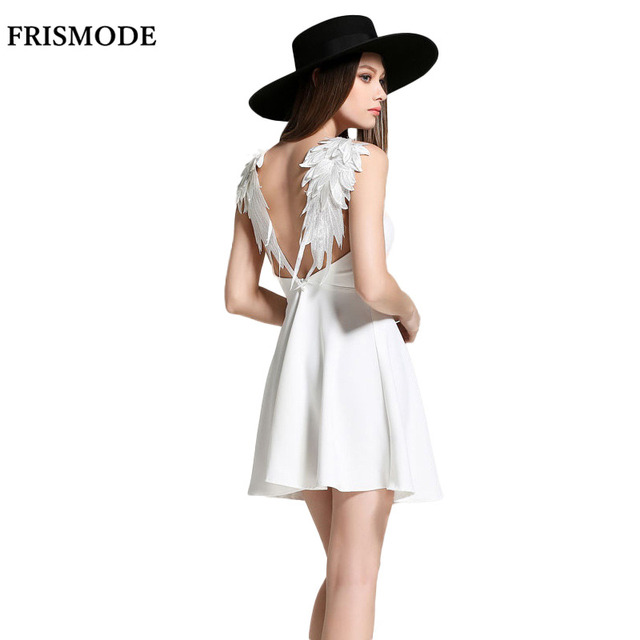 FRISMODE Spaghetti Strap Lace Wing Classic Black Dress 2017 New Fashion  Summer Sexy Mini Dresses Women Party Dress 6980f26afc
