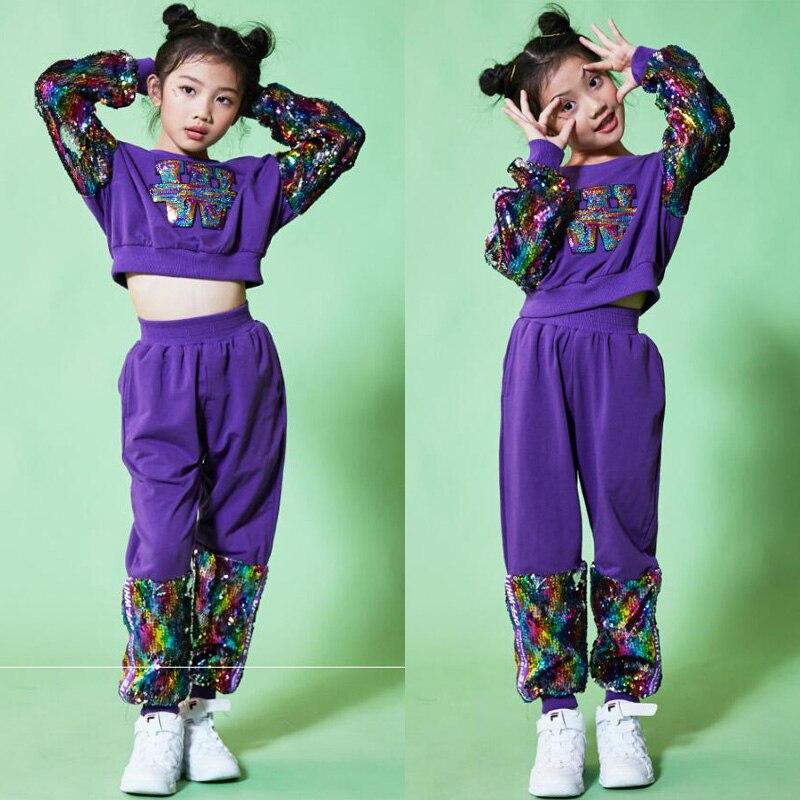 Costumes de danse Hip Hop Jazz pour salle de bal à paillettes pour enfants hauts + pantalons pour filles
