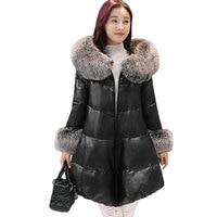 Женщины съемный меховой воротник пушистый вниз хлопковые парки зима плюс размер пальто из искусственной кожи с капюшоном женские теплые дл