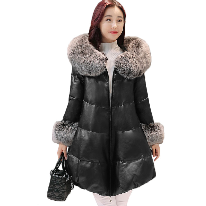 Women Removable Fur collar Fluffy Down Cotton Parkas Winter Plus size PU Leather Coat Thicken Hooded Female Warm Long JacketX299 gkfnmt winter jacket women 2017 fur collar hooded parka coat women cotton padded thicken warm long jacket female plus size 5xl