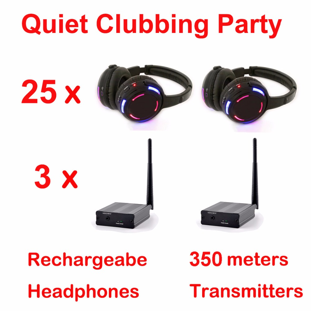 Silent Disco complete system black led wireless headphones - Quiet Clubbing Party Bundle (25 Headphones + 3 Transmitters)