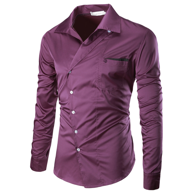 413958fa0 Loldeal 2018 Men Shirt Double Breasted Dress Shirt Long Sleeve Slim Fit  Camisa Masculina Casual Male