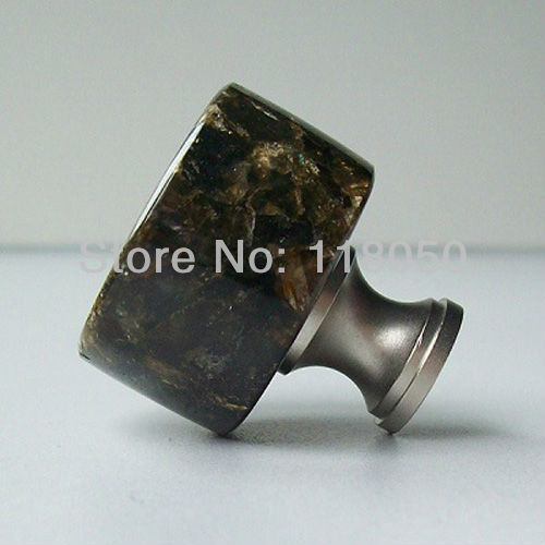 32mm Decorative Cabinet Knob Cupboard Knobs,Classic Chinese Kitchen Furniture Hardware,Green Granite with Brass Base,Novelties