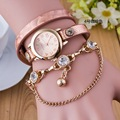 New Fashion Hot Colorful Vintage Rose Gold Crystal Women Watches Weave Wrap Rivet Leather Bracelet Wristwatches Watch OP001