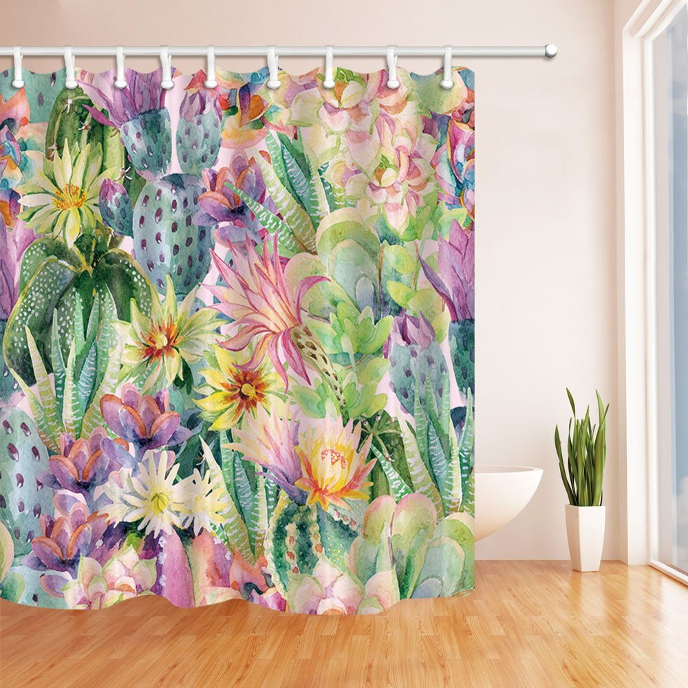 Watercolor Blooming Cactus Flowers Shower Curtain Mildew Resistant  Polyester Fabric Bathroom In Shower Curtains From Home U0026 Garden On  Aliexpress.com ...