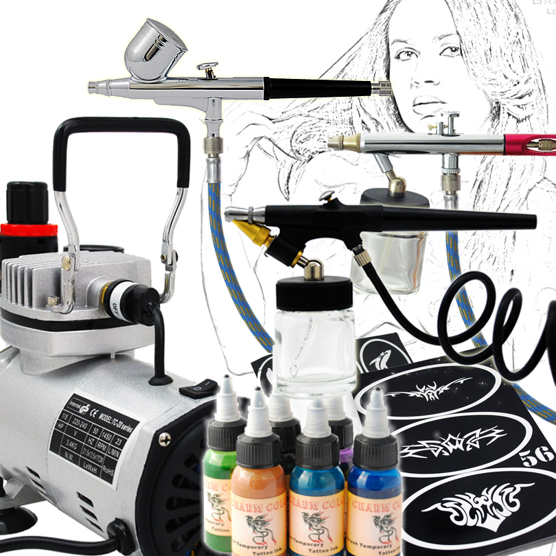Professional Body Art Airbrush Kit Body Painting 3 Airbrushes System body of art