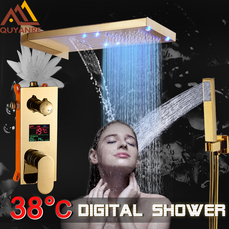 купить Quyanre Gold Digital Shower Faucets Set LED Rain Waterfall Shower Head 3-way Digital Display Mixer Tap Concealed Bathroom Shower по цене 12535.27 рублей