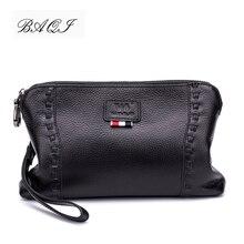 BAQI Brand Men Wallets Clutch Bag Genuine Leather Cowhide High Quality Coin Purse 2019 Fashion Card Holder Man Handbags Casual цена в Москве и Питере