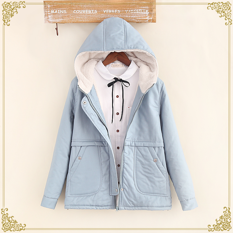 2016 autumn and winter fleece thickening wadded jacket female solid color with a hood loose cotton