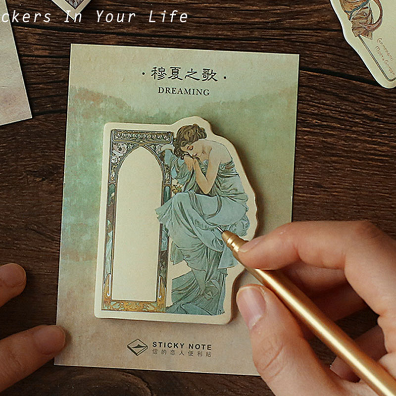1 pcs Vintage mucha goddess memo pad paper post notes sticky notes notepad stationery papeleria school supplies kids gifts
