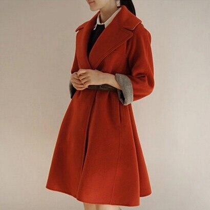 Plus long La Grand Moyen Laine Manteau Gris D'hiver Ceinture Taille Survêtement Avec orange De 141IqHfrxw