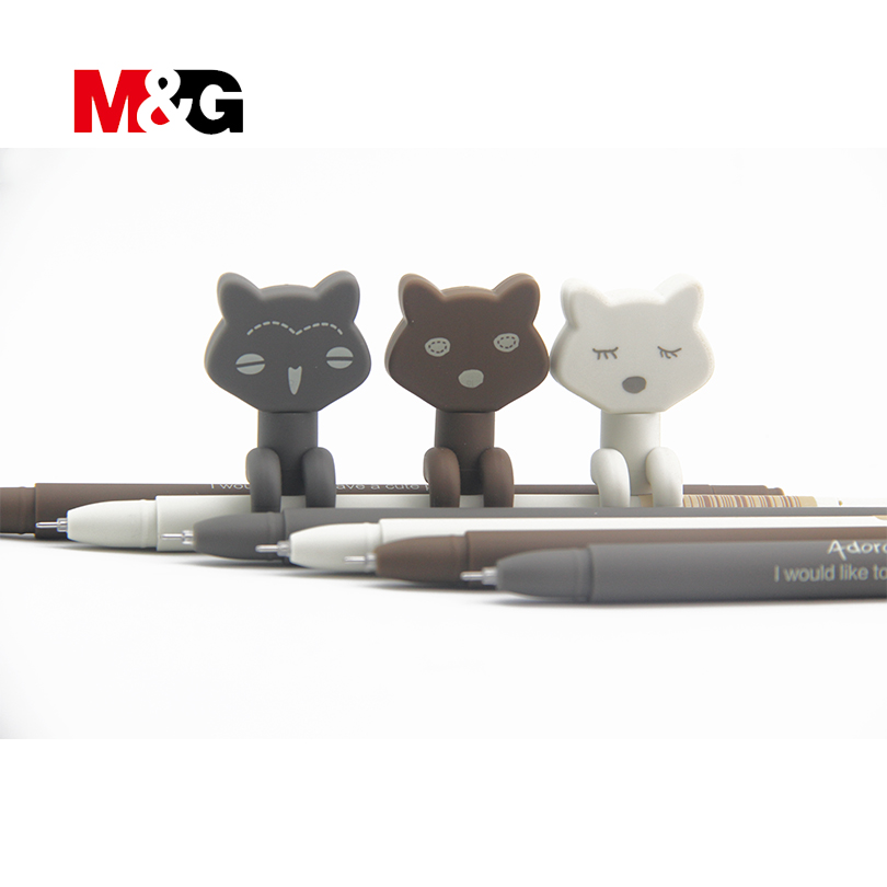 M&G 3Pcs Kawaii cat gel pens for school student Cartoon stationery office gel pens for writing Simple gift ballpoint pen for kid