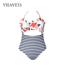 YIEAVESS Siamese Swimsuit Women Hollow Swimsuit Striped Strap Bandage Swimsuit Women Thick Swimsuit