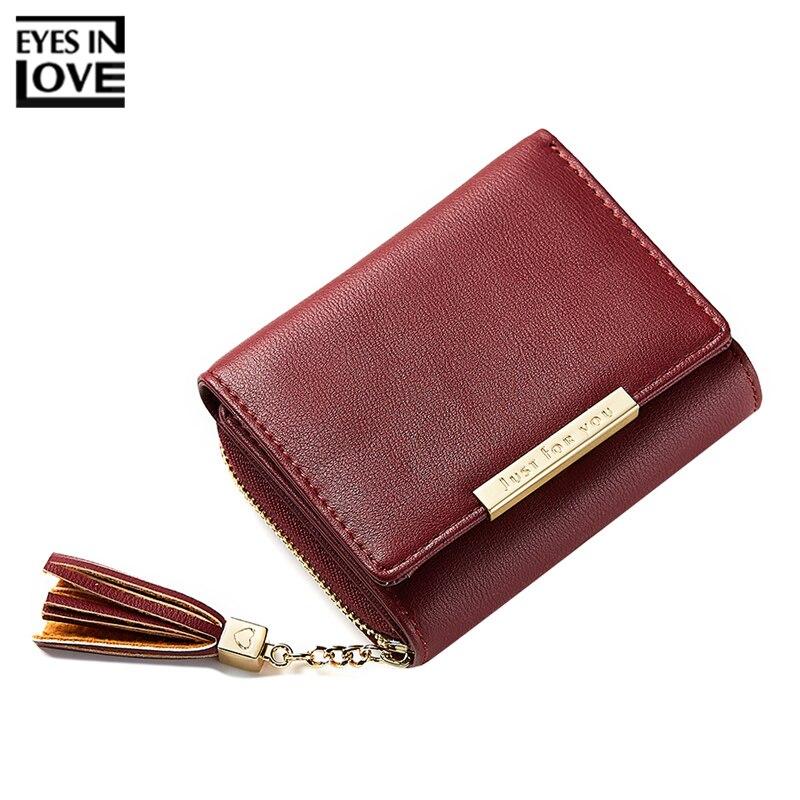 EYES IN LOVE Brand Tassel Designer Women Wallets Three Folds Leather Small Ladies Zipper Coin Purse Female Card Wallet Carteira