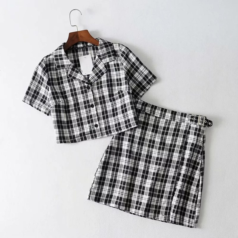 2019 Women Vintage Plaid Two Piece Set Crop Top Shirts And Mini Skirt Matching Sets Casual Outfits Tracksuit