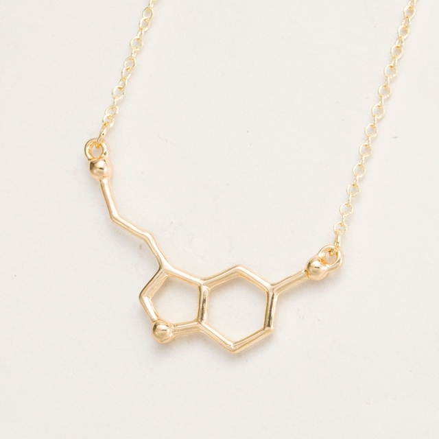 yiustar 2017 Serotonin Molecule Pendants Necklace For Women Chemistry Chokers Collar Elegant Simple Gold Silver Necklace XL012 1