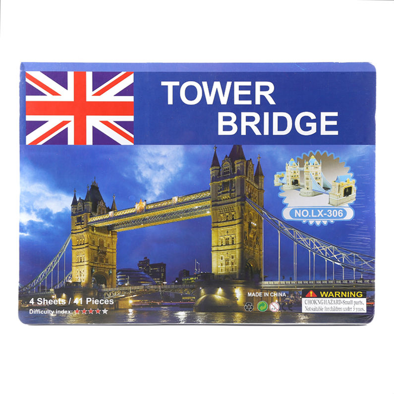 US $9 8 |3D Paper KT jigsaw puzzles for children adults Games for kids toys  for children Baby toys educational Puzles Tower Bridge 41 pcs-in Puzzles