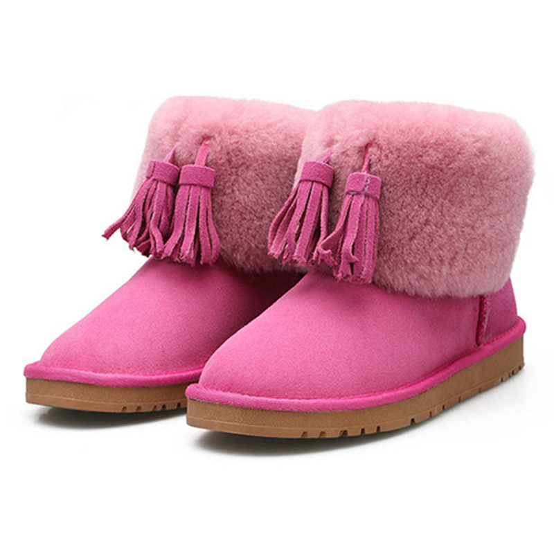 Top Quality Fashion Women ankle Snow Boots Genuine Sheepskin Leather Boots 100% Natural Fur Wool Warm Winter Boots Women's Boots 2016 australia genuine sheepskin leather women snow boots 100% natural fur winter boots warm wool ankle boots