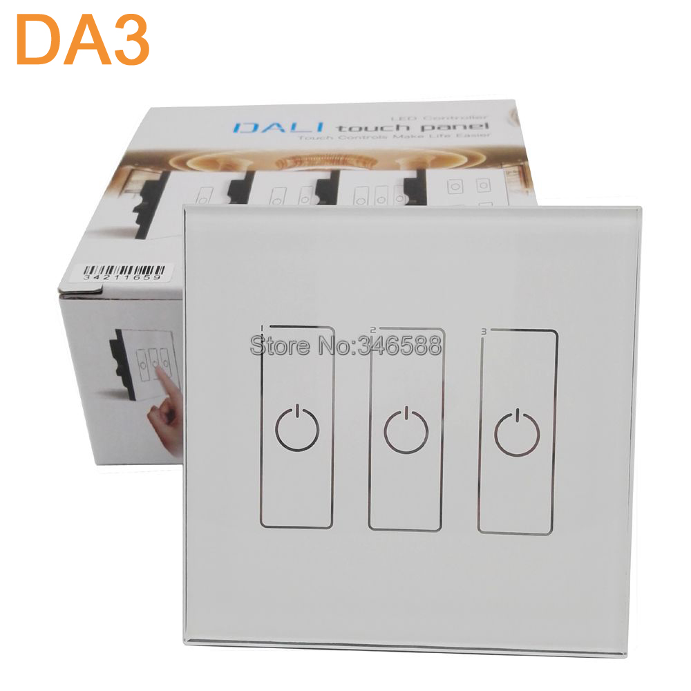 Ltech Da3 Wall Mount Touch Panel 3ch 3 Channel Control On Off Switch Dimmer Led Controller Dali Series For Light Ac220v