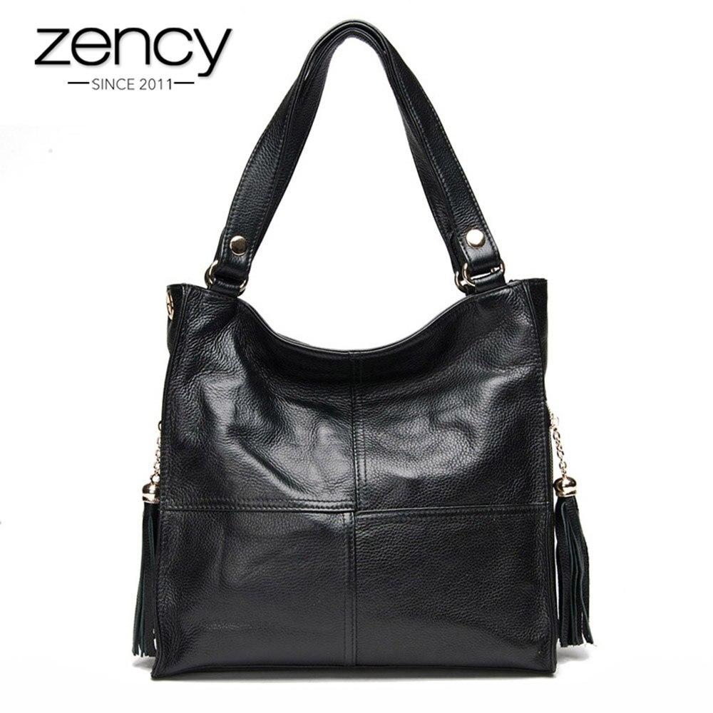 Zency кисточкой Для женщин сумки 100% натуральная кожа сумка женская мода Crossbody Кошелек белый бомжами, сумка
