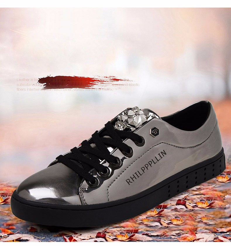 KUYUPP 2016 High Quality PU Patent Leather Men Flats Shoes Leopard Head Sequined Skate Shoes Round Toe Lace Up Men Flat Heel Y31 (3)
