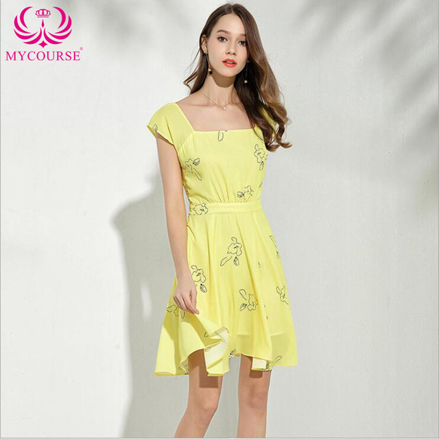 dbb131f251e0 MYCOURSE New Casual Women Summer Dress Yellow Short Sleeve Printing Party  Dresses Ladies Sexy Style Sundress Female Dresses