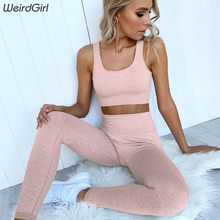 Weirdgirl frauen sportswear fitness solide 2 stück sets stracksuit casual ärmellose tank top elastic gym leggings dünne dünne neue(China)