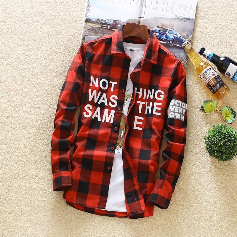Camisa a cuadros de color sólido de algodón 2018 Primavera Otoño - Ropa de hombre