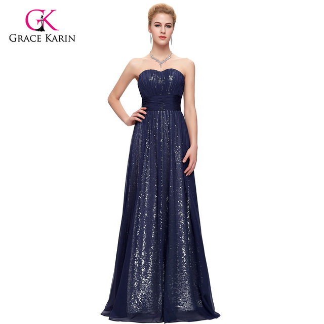 Robe de soiree pailletee bleu