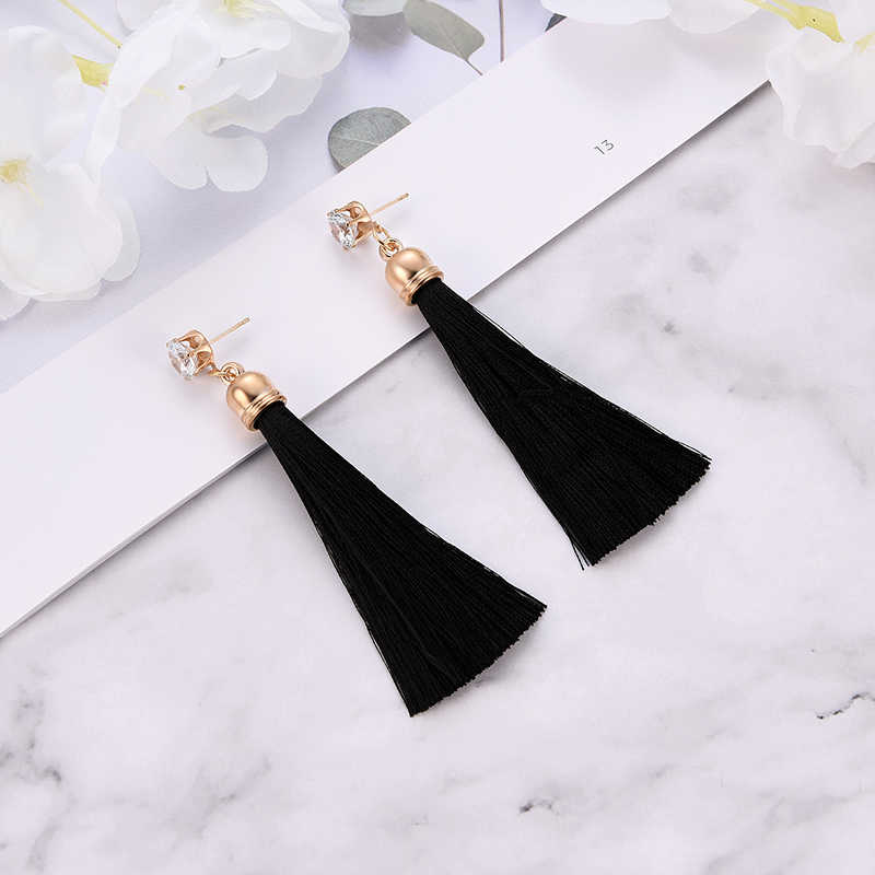 Banquet Wedding Party Bohemia Fabric Dangle Drop Long Tassel  Earrings Summer Earrings For Women Fashion Jewelry black red set