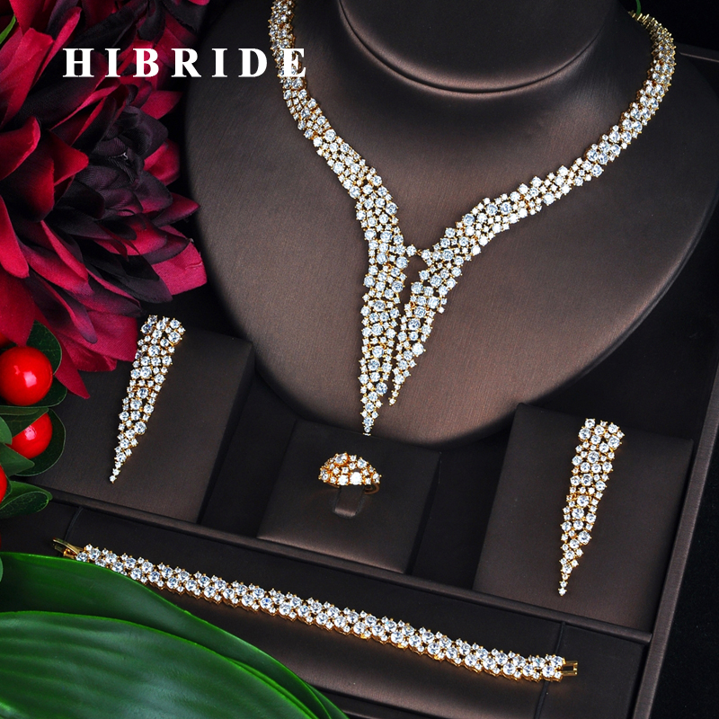 HIBRIDE New Dubai Gold Jewelry Sets For Women Bridal Wedding Accessories 4 pcs Necklace Ring Bracelet