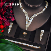HIBRIDE New Dubai Gold Jewelry Sets For Women Bridal Wedding Accessories 4 pcs Necklace Ring Bracelet Earring Set N 707