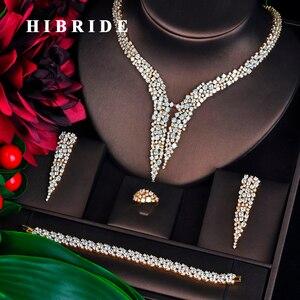 Image 1 - HIBRIDE Nieuwe Dubai Gouden Sieraden Sets Voor Vrouwen Bruids Bruiloft Accessoires 4 stuks Ketting Ring Armband Oorbel Set N 707