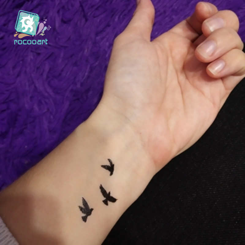 22 Different New 2018 Color Black Body Bird Swallow Tattoo Waterfproof Fake Hummingbird Temporary Sticker For Women